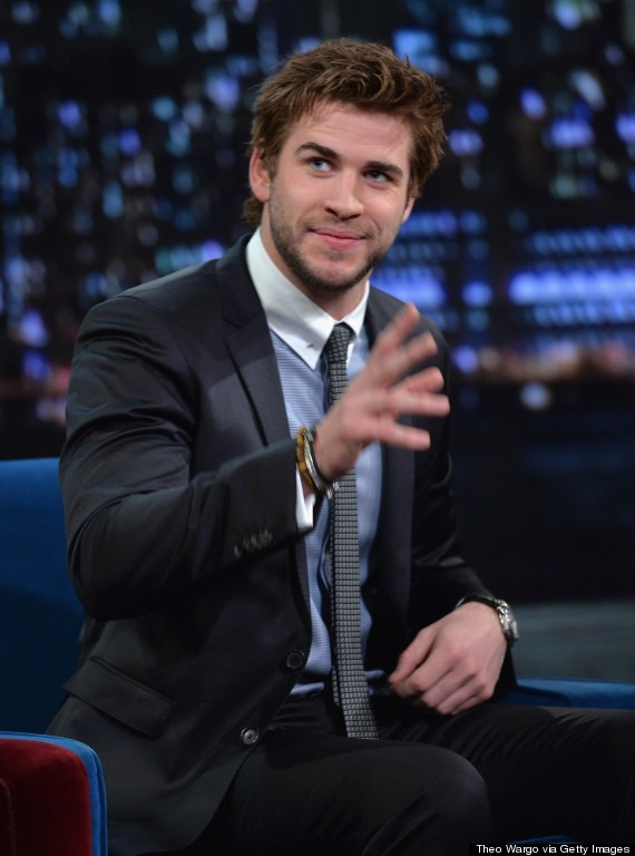 "NEW YORK, NY - NOVEMBER 21: Liam Hemsworth visits ""Late Night With Jimmy Fallon"" at Rockefeller Center on November 21, 2013 in New York City. (Photo by Theo Wargo/Getty Images)"