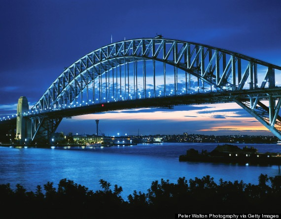 Sydney harbour bridge at twilight, New South Wales, Australia