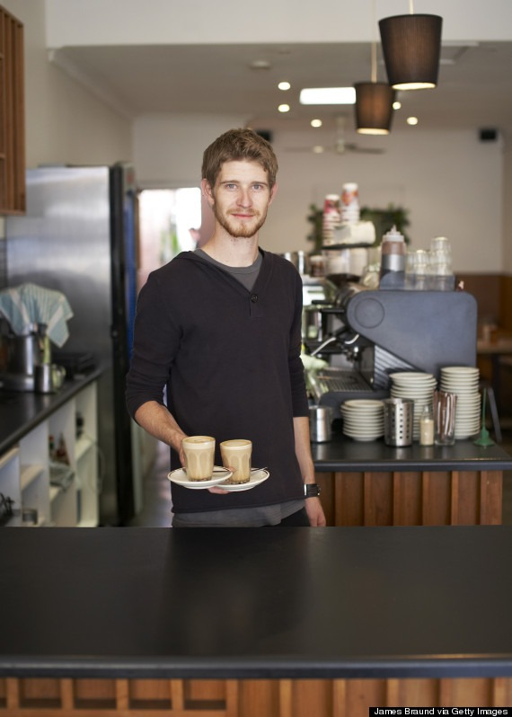 Barista making coffee in Melbourne cafe